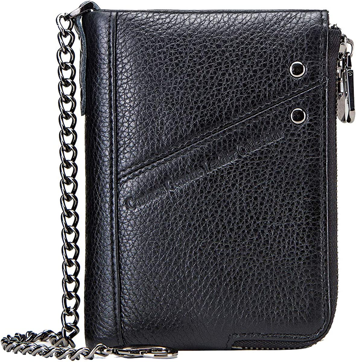 Wallet With Chain For men,Men's wallet RFID Mens Genuine Leather Double Zipper Pocket Bifold Coin Wallet with Anti-Theft Chain