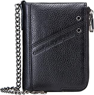 RFID Mens Genuine Leather Double Zipper Pocket Bifold Coin Wallet with Anti-Theft Chain