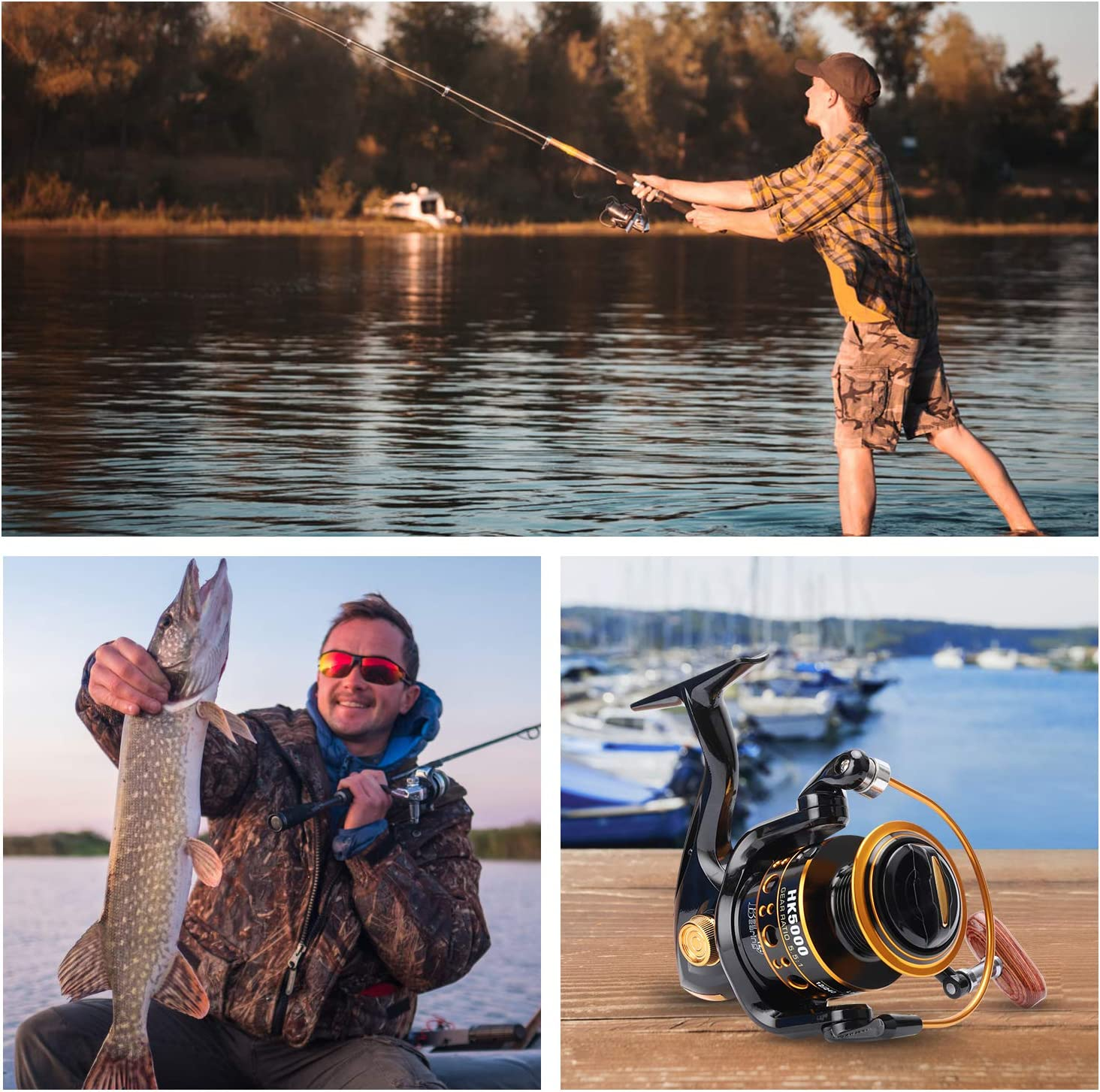 GOLD SHARKING Aluminum Spinning reels Light Weight for Saltwater Freshwater Ultra Smooth Powerful Spinning Fishing Reels12 Ball Bearings