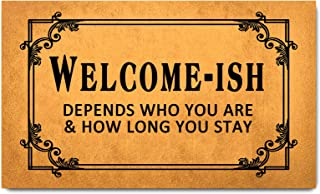 Funny Welcome Door Mats for Home Decor (17.7 x 29.5 inch) Gift Mats with Anti-Slip Rubber Back Kitchen Rugs Personalized D...