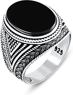 Chimoda Mens Rings with Black Onyx Stone in 925 Sterling Silver with Vintage Eastern Motifs Men's...