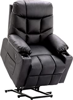 Mcombo Electric Power Lift Recliner Chair Sofa for Elderly, 3 Positions, 2 Side Pockets and Cup Holders, USB Ports, Faux Leather 7288 (Black)