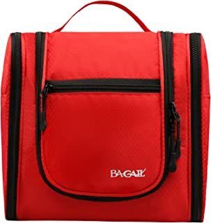 Bagail Men & Women Toiletry Bag for Makeup, Cosmetic, Shaving, Travel Accessories, Personal Items -Hotel, Car, Home, Bathroom, Airplane Hanging Toiletries Kit Makeup Organizer Red