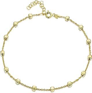 Amberta 925 おしゃれ 脚ブレスレットレット 純銀製 - 金メッキ - アンクレット 調整 - 0.32 cm あずき チェーン - 可愛い 安い ア プレゼント セット - 長さ サイズ 22 cm - 26 cm