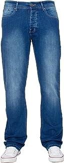 New Mens ENZO Stretch Straight Leg Regular Fit Classic Basic Denim Jeans