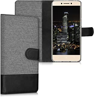 kwmobile Wallet Case for LeEco Le Pro 3 - Fabric and PU Leather Flip Cover with Card Slots and Stand - Grey/Black