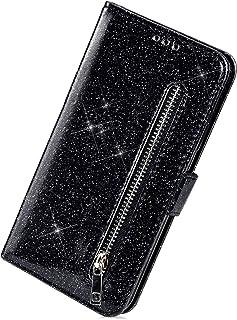 Herbests Etui kompatybilne z Huawei P20 Pro, etui na telefon komórkowy, błyszczący zamek błyskawiczny, skóra, luksusowe et...