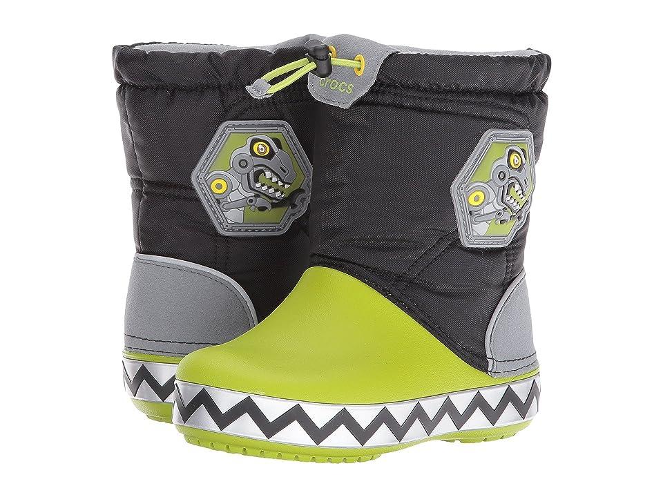 Crocs Kids CrocsLights Lodge Point Boot (Toddler/Little Kid) (Black/Volt Green) Kids Shoes