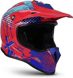 Soxon SKC-33 Kinder-Cross-Helm, ECE Schnellverschluss SlimShell Tasche, S 53-54cm, Fusion Rot Blau