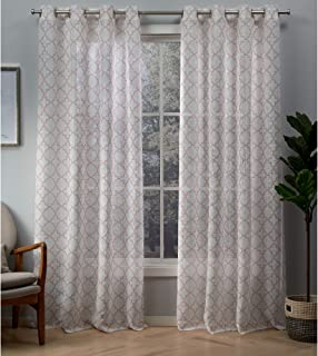 Exclusive Home Helena Printed Sheer Grommet Top Curtain Panel Pair, Blush, 54x96, 2 Piece