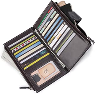 Anvesino Women's Rfid Leather Wallet Clutch Large Phone Checkbook Holder Multi Card Organizer with Zipper Pocket