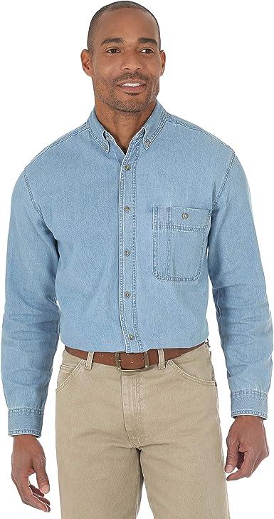 Wrangler Camisa vaquera básica de un bolsillo para hombre Rugged Wear