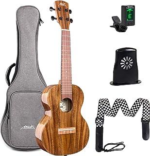 AKLOT Concert Acacia Ukulele 23 Inch 4 Strings Solid Acacia Uke w/Humidifier Tuner Picks Strap Gig Bag for New Beginners P...