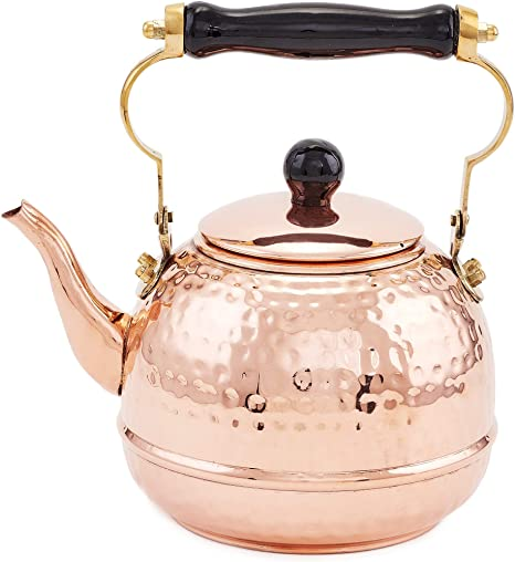 Wooden Handle and knob Vintage Copper Tea Kettle Well Loved Beautiful Copper Kettle