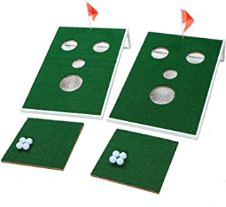 OOFIT Smiling Face Golf Cornhole Game with Chipping Mats Tailgate Chipping Game Set, Great Fun with Friends and Family