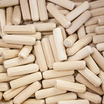8mm x 25mm HARDWOOD MULTIGROOVE CHAMFERED WOODEN DOWELS FLUTED PINS CRAFT WOOD