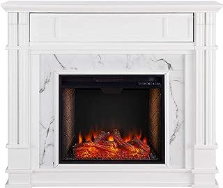 Southern Enterprises Highgate Electric Alexa-Enabled Smart Media Fireplace White, Whiskey Maple