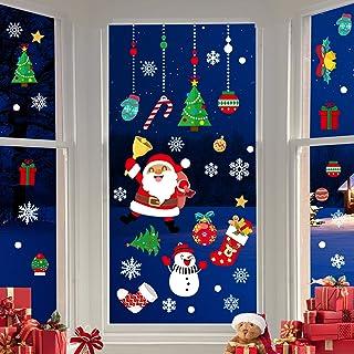 CENXINY Autocollants de Fenêtre de Noël, 4 Feuilles 50 * 35CM Autocollants de Décoration de Noël Santa Arbre Flocon de Nei...