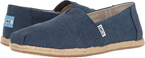 Navy Washed Canvas Rope Sole