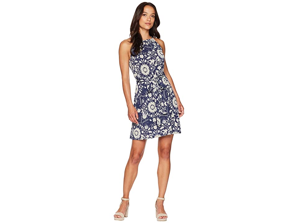 Lucky Brand Knit Self Tie Dress (Blue Multi) Women