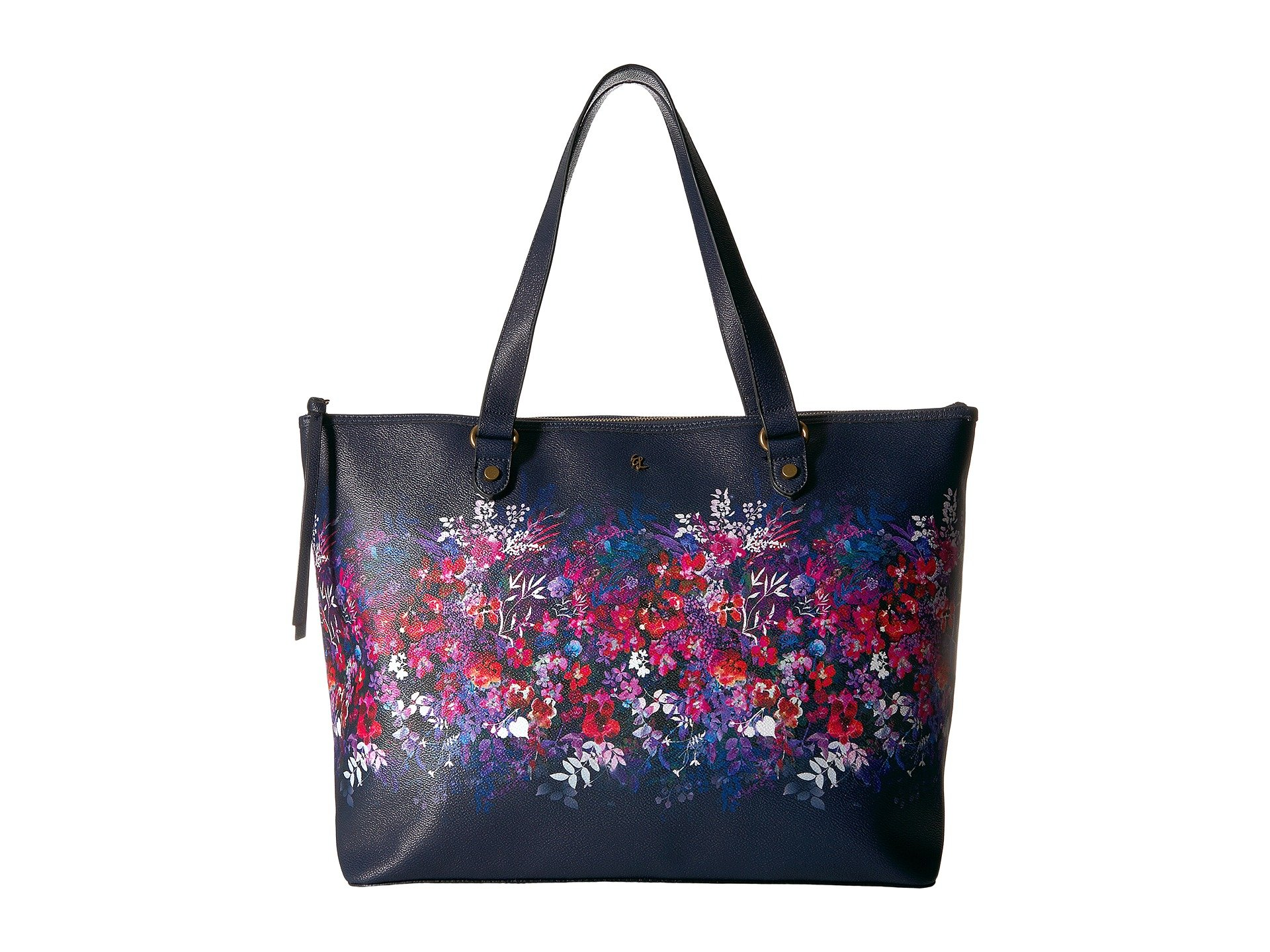 ELLIOTT LUCCA Aria Floral-Print Shoulder Tote Bag in Indigo Bouquet