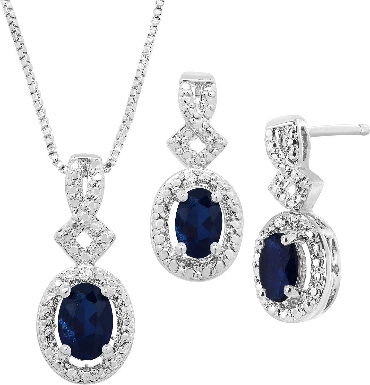 Created Gemstone 4-Piece Jewelry Set with Diamonds in 14K Gold-Plated Brass