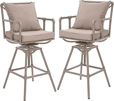 Christopher Knight Home Northrup Pipe Outdoor Adjustable Barstools, 2-Pcs Set, Grey And Brass