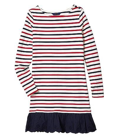 Polo Ralph Lauren Kids Striped Cotton Jersey Dress (Little Kids/Big Kids) (Clubhouse Cream) Girl