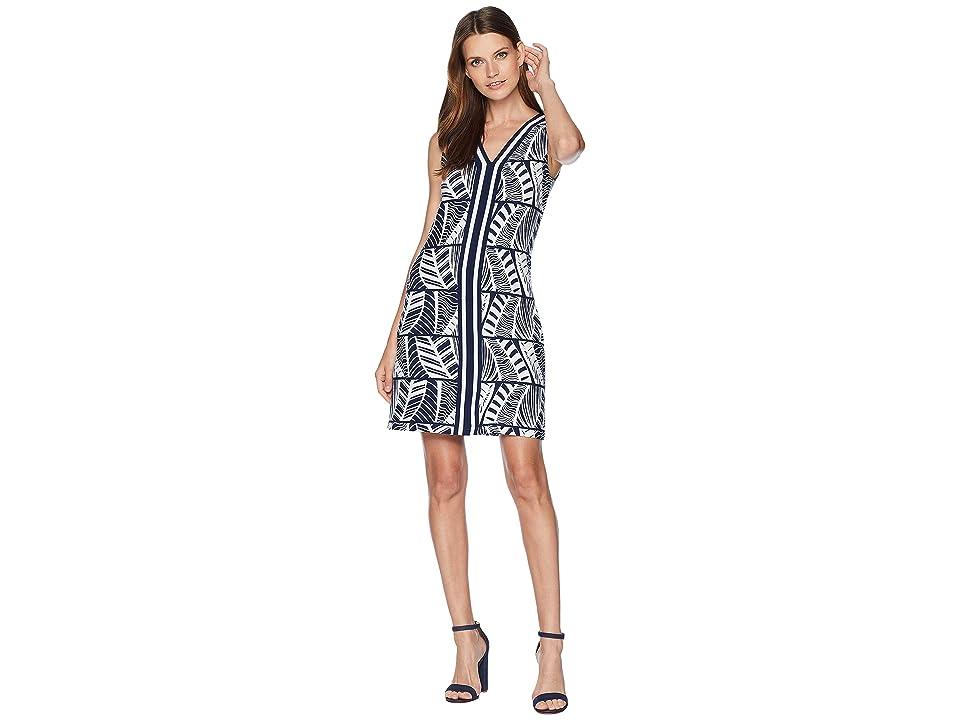 Tommy Bahama Leaf Line V-Neck Shift Dress (Ocean Deep) Women