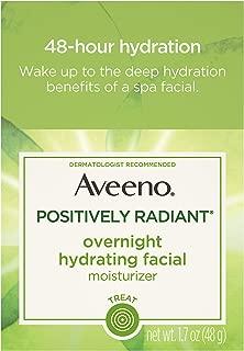Aveeno Durante la noche positivamente radiante hidratante facial hidratante con extracto de soja y ácido hialurónico, sin aceite y no comedogénico 1,7 onza