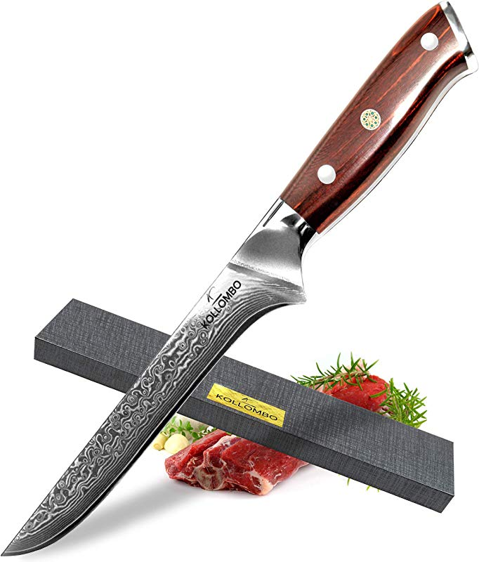 KOLLOMBO Boning Knife Butcher S Knife Chef S Knife Japanese VG 10 Damascus Stainless Steel 6 Inch Forged Blade With Tropical Strong Rosewood Handle