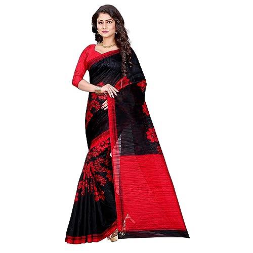 44b545c528a045 Sugathari Sarees Women s Black and Red Mysore Bhagalpuri Art Silk Saree  (Bhagalpuri Sarees 49 Black