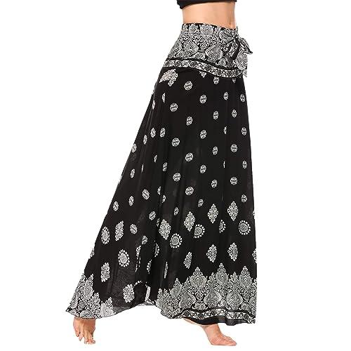 ab44489894 Ouyilu Women's Long Bohemian Hippie Skirt High Waist Floral Print Self-Tie  Belt