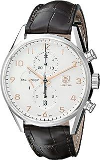 TAG Heuer - Carrera - Reloj (Reloj de pulsera, Masculino, Acero, Acero inoxidable, Cuero, Marrón)