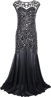 فستان حفلات التخرج طويل من PrettyGuide للنساء من العشرينيات من القرن العشرين لون أسود - 2/4