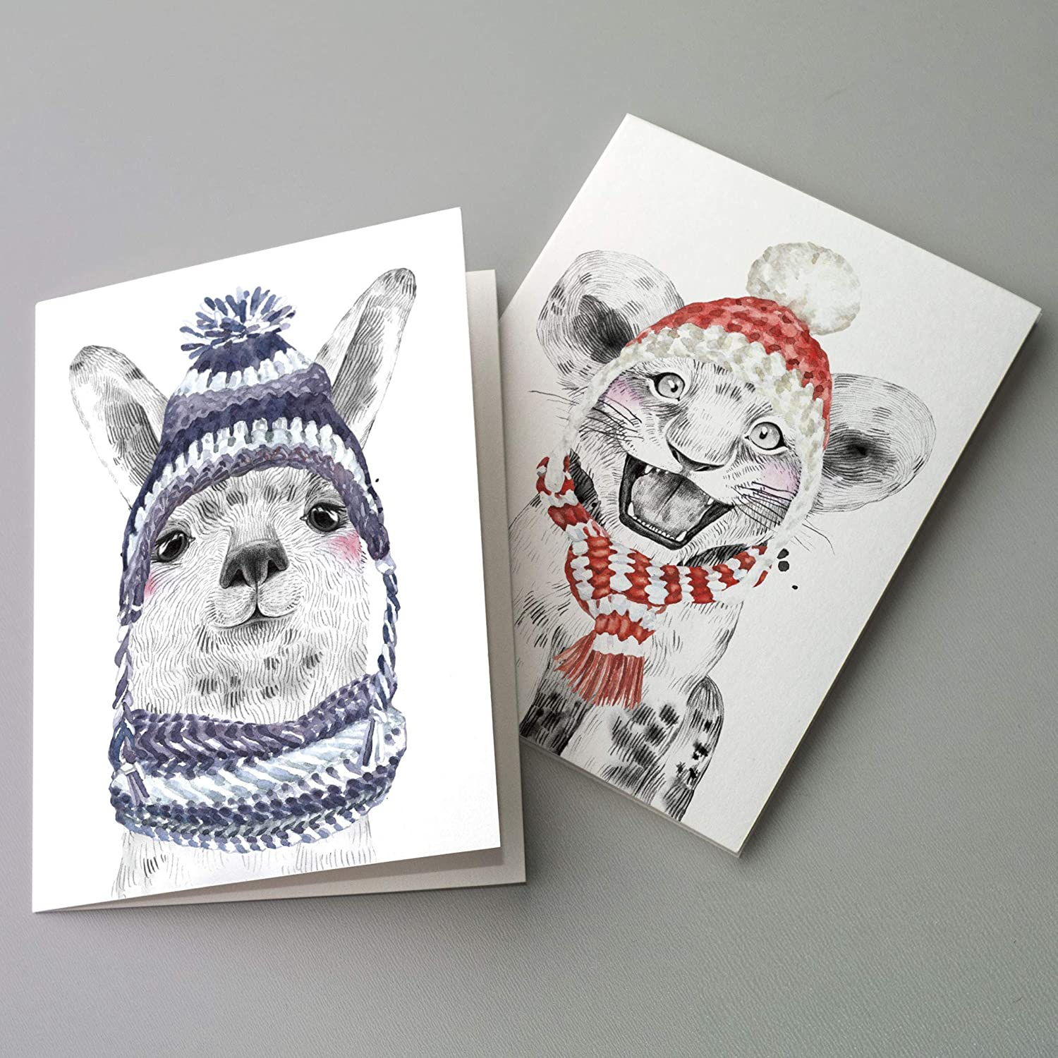 Cute Baby Animal Christmas Cards lowest price Boxed 24 Latest item Holiday - Set Blank Gr