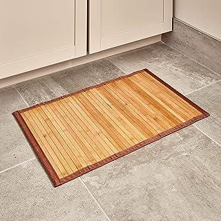 iDesign Alfombra antideslizante, alfombra de madera de bambú de tamaño pequeño, alfombrilla de baño, cocina y pasillo repe...