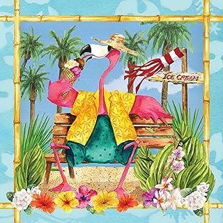 Creative Converting Flamingo Fun Beverage Napkins 18 Pieces, Multicolour