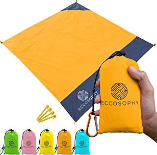 ECCOSOPHY Pocket Beach Blanket - Lightweight Hiking Blanket, 60x55inch Camping Tarp, Waterproof Picnic Blanket, Packable Compact Ground Cover for Festivals, Outdoor Sports, All Accessories Included