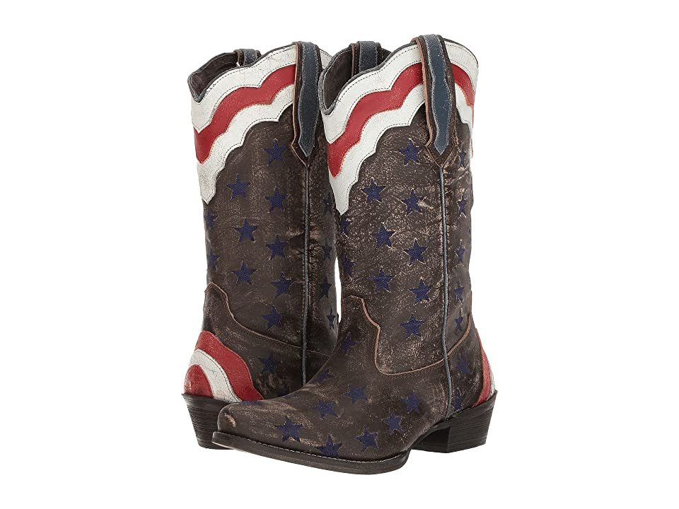 Roper Stars Stripes (Brown Leather) Cowboy Boots