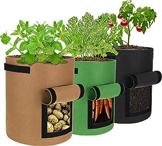 SIRUITON Sacs de Plantation de Jardin 3PCS 7 Gallons Sac de Culture Respirant Sac de Plantation de Pommes de Terre à Fenêtre