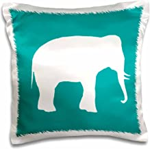 3dRose White Elephant Silhouette. Teal Turquoise Aqua Blue Wildlife Animal-Pillow Case, 16 by 16 (pc_164913_1)