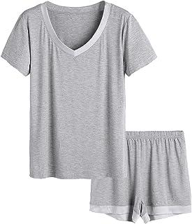 08ad7872907 Latuza Women s V-Neck Sleepwear Short Sleeve Pajama Set