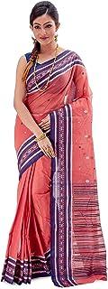 SareesofBengal Women's Bengal Cotton Khadi Saree Tangail Tant Jamdani Handloom Sari Pink