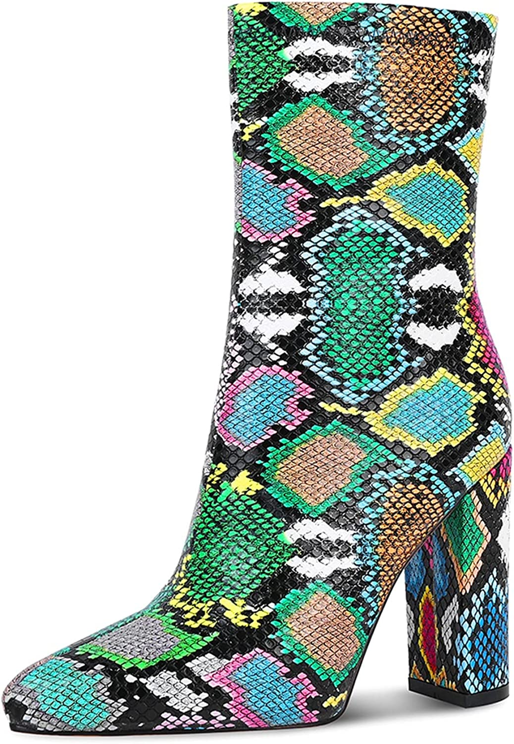 WETKISS Women Snakeskin Fort Worth Mall Booties Ankle Ladies on Slip Boots for Recommended