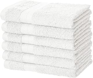 AmazonBasics Fade-Resistant Cotton Hand Towel – Pack of 6, White