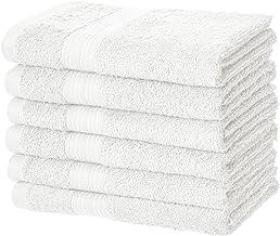 Amazon Basics - Toallas resistentes de algodón para manos, color blanco, paquete de 6