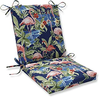 Pillow Perfect Outdoor   Indoor Flamingoing Lagoon Squared Corners Chair Cushion, Blue, 36.5 X 18 X 3