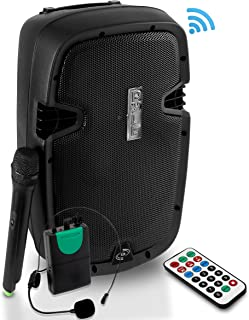 Wireless Portable PA Speaker System - 1000W Rechargeable Battery Powered Bluetooth Compatible Active Outdoor Speaker - USB SD MP3 AUX RCA FM Radio - 35mm Mount Microphone Transmitter - Pyle PPHP109WMU