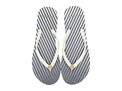 Tory Burch Thin Flip-Flop (Tory Navy/Homage To The Flower Stripe) Women